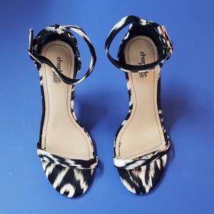Zebra Print Sandal Heels Size  7